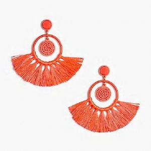 J CREW Beaded Tassel Earrings (Coral)